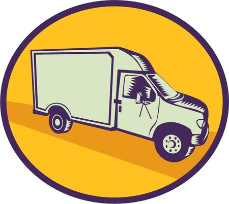 printmaking: Illustration of a closed delivery van viewed from the side set inside circle on isolated background done in retro woodcut style.