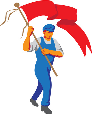 bearer: WPA style illustration of a worker marching flag bearer viewed from front set on isolated white background.