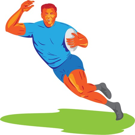 WPA style illustration of a rugby player with ball running viewed from front set on isolated white background.
