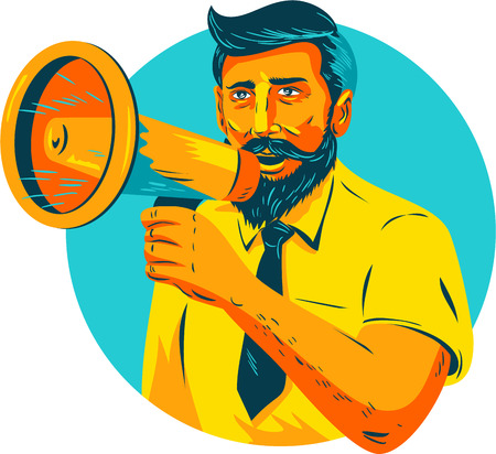audible: WPA style illustration of bearded hipster man holding megaphone viewed from front set inside circle on isolated background.