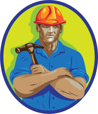 public works: WPA style illustration of a construction worker wearing hardhat holding hammer with arms crossed viewed from front set inside circle on isolated background.