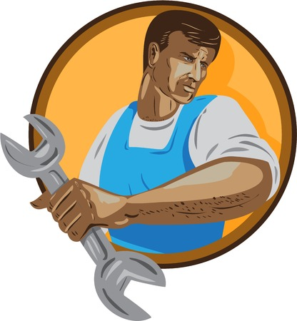 wpa: WPA style illustration of a mechanic worker looking to the side holding spanner wrench set inside circle on isolated background.