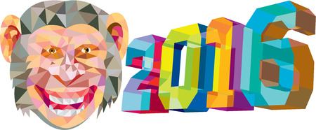 abstract gorilla: Low polygon style illustration of a monkey chimp with the number new year 2016 for the chinese zodiac year of the monkey on the side set on isolated white background. Illustration