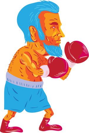 WPA style illustration of a bearded boxer boxing viewed from the side set on isolated white background done in cartoon style. Illustration