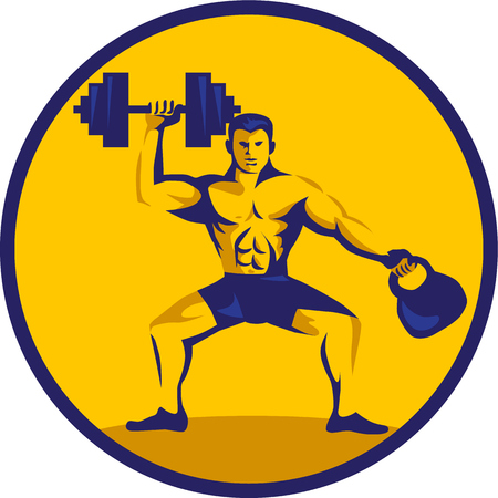 Illustration of an athlete weightlifter lifting kettlebell with one hand and dumbbell on the other hand facing front set inside circle on isolated background done in retro style. Illustration