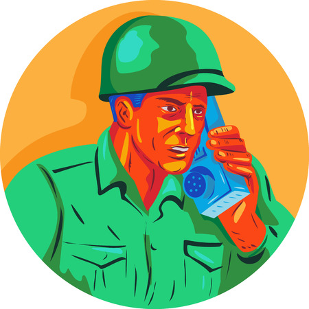 WPA style illustration of a World War two American soldier serviceman talking on field radio walkie-talkie viewed from front set inside circle on isolated background.
