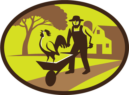 farmhouse: Illustration of an amish farmer wearing hat holding wheelbarrow with rooster on top set inside oval shape with tree and farmhouse in the background done in retro style. Illustration