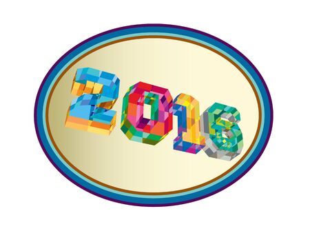 oval shape: Low polygon style illustration of the number 2016 set inside oval shape viewed in low angle.