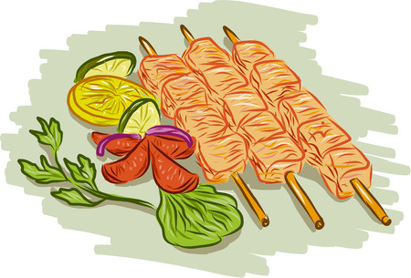 kabob: Drawing sketch style illustration of chicken kebabs skewers with vegetables, coriander, lemon, leaf, cucumber on isolated white background. Illustration