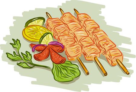 brochetas de frutas: Gráfico de la ilustración del estilo del bosquejo de kebabs de pollo pinchos con verduras, cilantro, limón, hoja, pepino en el fondo blanco aislado.