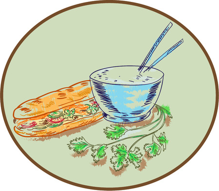 mi: Drawing sketch style illustration of a Bahn mi Vietnamese sandwich with meat and bowl of rice and chopsticks and coriander herb set inside circle. Illustration