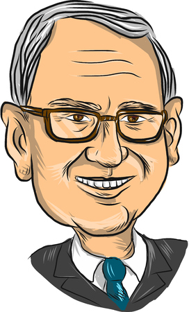 elected: Caricature illustration showing head or bust of Bernard Bernie Sanders, American Senator, elected politician and Democrat presidential candidate on isolated background.