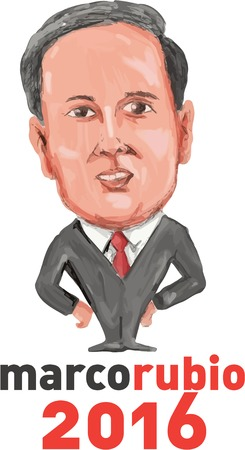senator: Caricature illustration showing Marco Rubio, an American senator, politician and Republican 2016 presidential candidate standing with wpords MarcoRubio 2016 done in cartoon style.