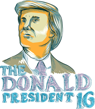 donald: Drawing sketch style illustration showing American real estate magnate, television personality, politician and Republican 2016 presidential candidate Donald John Trump with words The Donald President 2016.