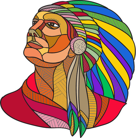 Schizzo di disegno illustrazione stile di un american indian guerriero nativo capo con copricapo guardando al set lato su sfondo bianco isolato.