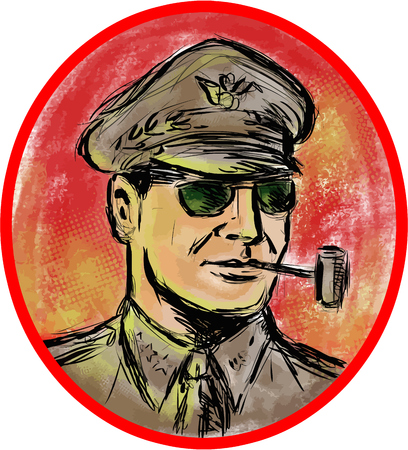 world war two: Watercolor style illustration of a world war 2 II general officer smoking a corn cob pipe set inside oval shape on isolated background.