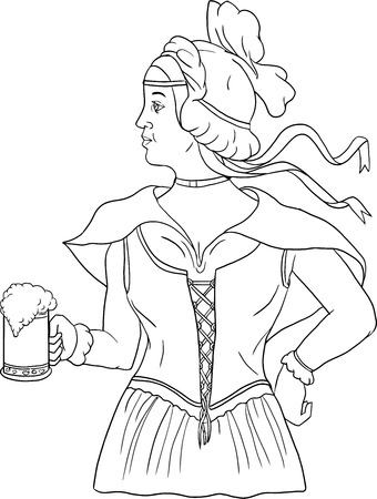 medieval dress: Drawing sketch style illustration of a German barmaid wearing medieval renaissance costume dress holding a beer mug viewed from side set on isolated white background.