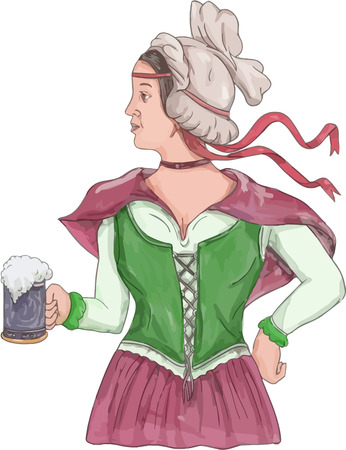renaissance: Watercolor style illustration of a German barmaid wearing medieval renaissance costume dress holding a beer mug viewed from side set on isolated white background.
