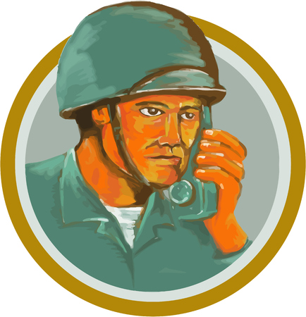 wwii: Watercolor style illustration of an american soldier serviceman military calling on radio set inside circle on isolated background.