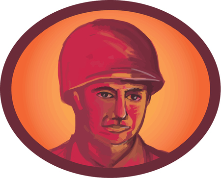 man head: Illustration of a World War two American soldier serviceman head facing front set inside oval shape on isolated background. Illustration