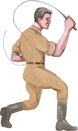 tailed: Watercolor style illustration of a lion tamer holding bullwhip viewed from the side set on isolated white background.