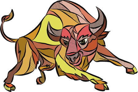 Drawing sketch style illustration of an angry raging bull facing front attacking charging set on isolated white background.
