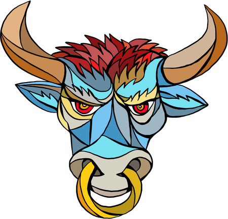 raging: Mosaic style illustration of an angry raging bull head facing front set on isolated white background.