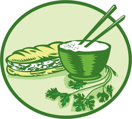 mi: Illustration of banh mi rice bowl with chopstick coriander and meat-filled sandwich on the side set inside circle on isolated background done in retro style.
