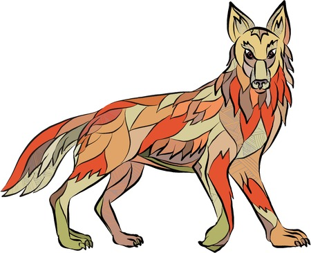 wild dog: Drawing sketch style illustration of a coyote wild dog viewed from the side facing front set on isolated white background.