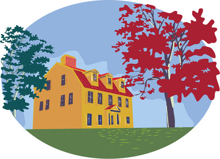 WPA style illustration of a colonial house with trees set inside circle on isolated background.