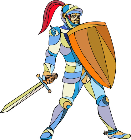 assemblage: Mosaic style illustration of knight in full armor holding sword and shield defending  set on isolated white background.