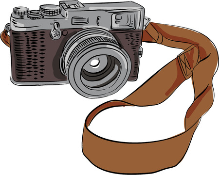 Drawing sketch style illustration of a vintage camera with srap viewed from front set on isolated white background.