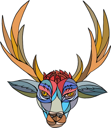 assemblage: Mosaic style illustration of a red stag deer buck head facing front set on isolated  white background.