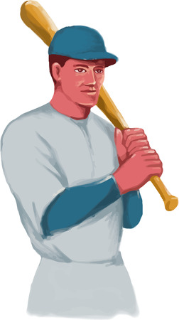 hitter: Watercolor style illustration of a vintage american baseball player batter hitter holding bat on shoulder set on isolated white background.
