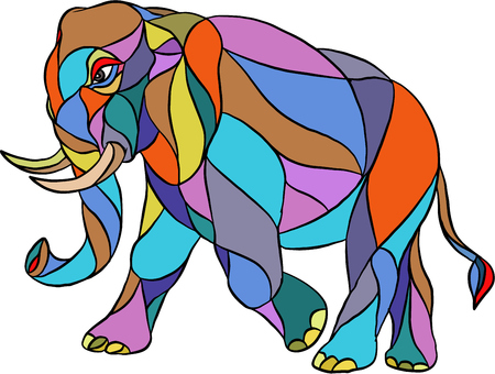 assemblage: Mosaic style illustration of an angry elephant wth tusks walking viewed from the side set on isolated white background.