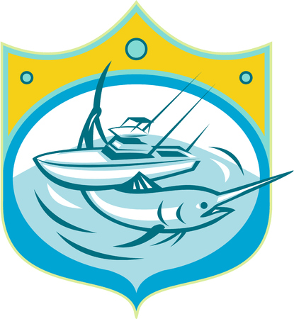 marlin: Illustration of a blue marlin and charter fishing boat in sea set inside shield crest done in retro style.