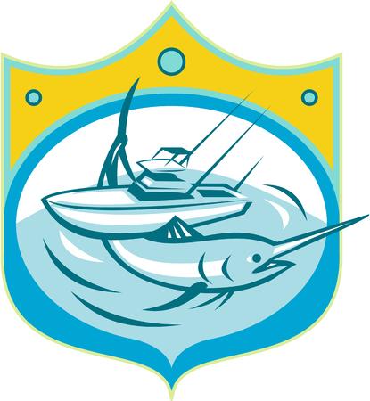 barca da pesca: Illustrazione di un marlin e Carta blu barca da pesca in mare trova all'interno cresta scudo fatto in stile retrò. Vettoriali