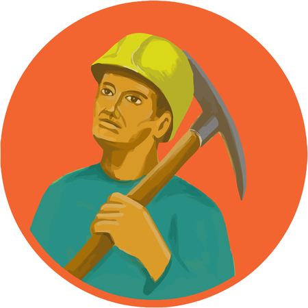 hardhat: Watercolor style illustration of a coal miner wearing hardhat holding pick axe on shoulder looking to the side set inside circle. Illustration