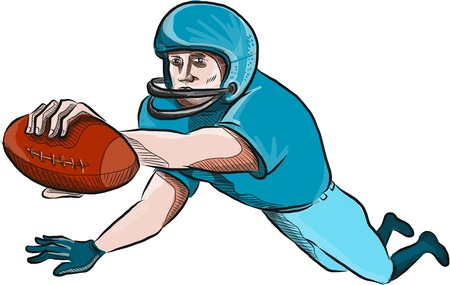 quarterback: Drawing sketch style illustration of an american football gridiron receiver with ball scoring touchdown set on isolated white background. Illustration