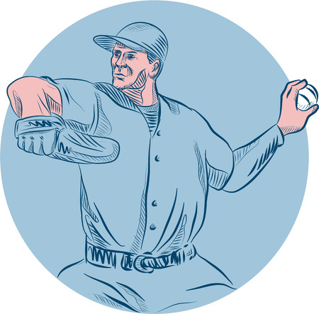 outfielder: Drawing sketch style illustration of an american baseball player pitcher outfilelder throwing ball  looking to the side set inside circle set on isolated background. Illustration