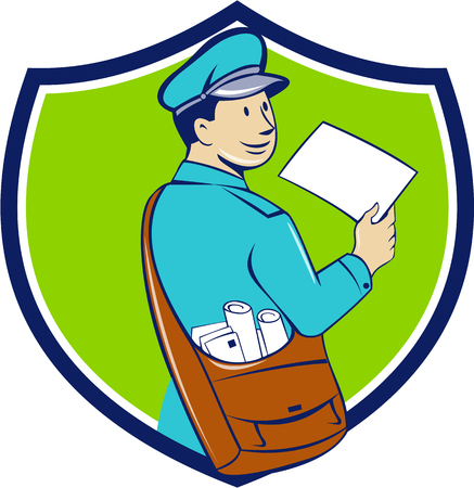 mailman: Illustration of a mailman postman delivering a letter looking to the side viewed from rear set inside shield crest on isolated background done in cartoon style.