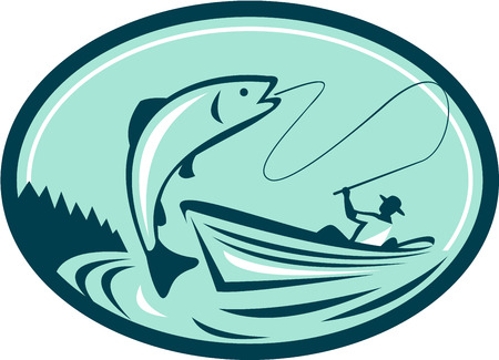 Illustration of a fly fisherman fishing on boat reeling a trout salmon fish set inside oval shape done in retro style.