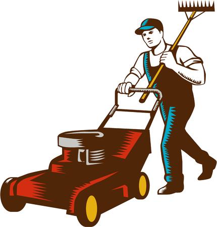 芝生芝刈り機刈ると孤立の背景を白に設定の肩に熊手を持って男性庭師の木版画スタイル イラスト。
