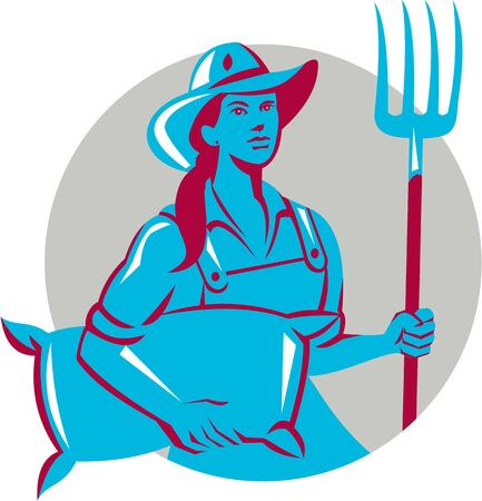 farm worker: Illustration of a female organic farmer carrying sack and holding pitchfork with hat facing front set inside circle on isolated bakcground done in retro style. Illustration