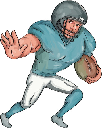 Caricature illustration of an american football player carrying ball with stiff arm forward defending viewed from front set inside on isolated white background. Illustration