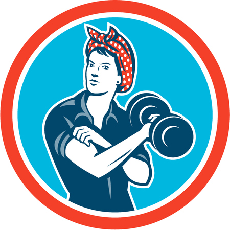 lifting weights: Illustration of a vintage female wearing polka dot headband working-out flexing muscle lifting dumbbell facing front set inside circle done in retro style.