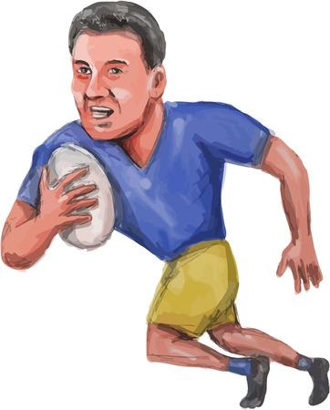 ejemplo de la caricatura de un jugador de rugby con la pelota ejecución de conjunto sobre fondo blanco aislado visto de frente.