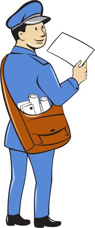 mailman: Illustration of a mailman postman delivering a letter looking to the side viewed from rear set on isolated white background done in cartoon style.
