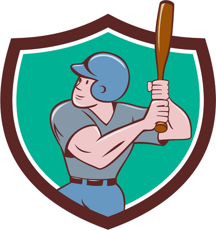 hitter: Illustration of an american baseball player batter hitter with bat batting set inside shield crest done in cartoon style isolated on background. Illustration
