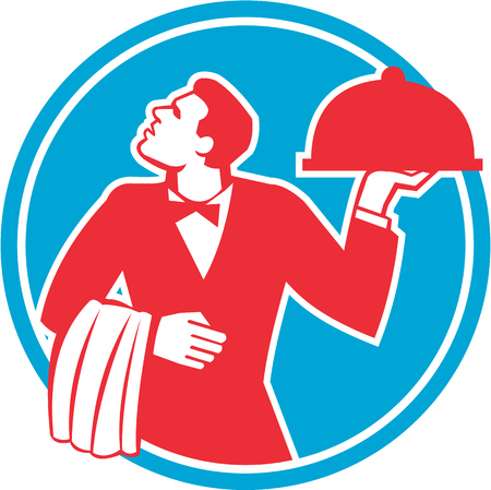 servings: Illustration of a butler waiter serving food in a platter looking to the side viewed from front set inside circle on isolated background done in retro style.